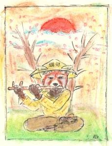 Panda roux jouant de la flûte