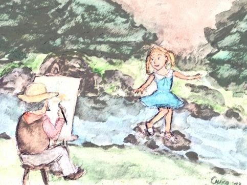 fillette étang